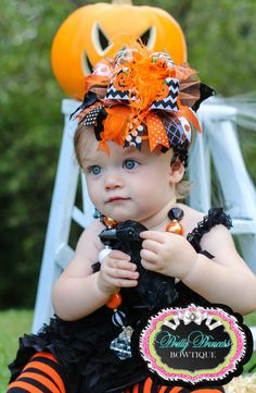 Jack O Lanterns and Chevron Bling Over the Top Hair Bow with matching headband on Etsy, $19.99