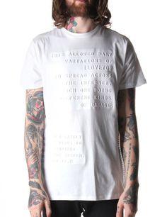 Blood Brother Letter Men's Embossed Print T-Shirt White