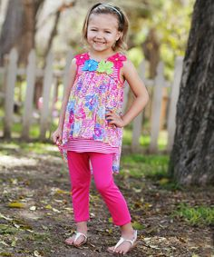 Love this Fuchsia Stripe & Floral Tunic & Leggings - Toddler & Girls by Freckles + Kitty on #zulily! #zulilyfinds