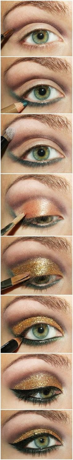 step-by-step instructions for a gorgeous, glittery gold & green eye! - i can use this as a guide for eye make-up in general. since I didn't get the hair or make-up gene. Love Makeup, Makeup Tips, Makeup Looks, Makeup Tutorials, Makeup Ideas, 70s Makeup, Makeup Art, Awesome Makeup, Makeup Products