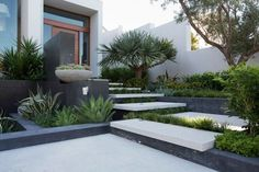 garden landscape design frontyard privacy wall concrete stairs plant containers…