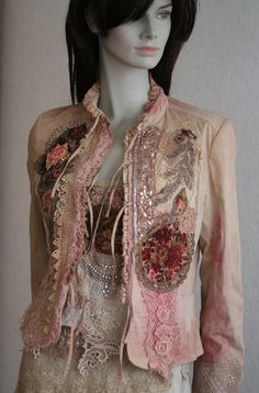 RESERVED for SILVIA- - romantic textile art jacket, antique laces, hand embroidered details, silk , appliques, beading
