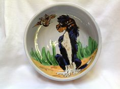 Hand Painted Dog Bowl by Debby Carman Faux Paw Productions by FauxPawProductions on Etsy