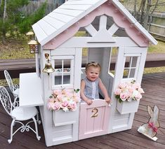 Building your little one a playhouse in the backyard will surely make them happy. There are a few things you should know before you build a playhouse for kids. Girls Playhouse, Build A Playhouse, Playhouse Outdoor, Outdoor Play, Playhouse Decor, Wooden Playhouse, Painted Playhouse, Outside Playhouse, Playhouse Ideas