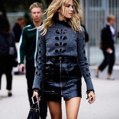 #Inspired. black on black. leather. sweater. holes. zipper. gold. grunge. winter. autumn. 2017 fashion. trend. trends. cute. edgy. casual. date night. shopping. coffee.
