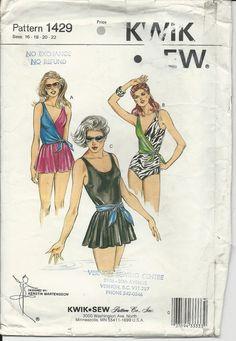 Kwik Sew 1429 Vintage 1980s Bathing Suit Pattern by ValleyVariety