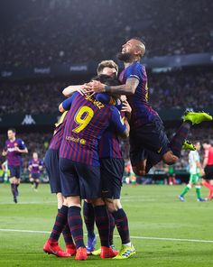 Lionel Messi of FC Barcelona celebrates scoring his team's opening goal with team mates during the La Liga match between Real Betis Balompie and FC Barcelona at Estadio Benito Villamarin on March Get premium, high resolution news photos at Getty Images Fc Barcelona Wallpapers, Psg, Spain Football, Creepy Gif, Barcelona Team, Sports Images, Lionel Messi, Soccer, Seville Spain