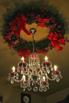 A Christmas Wreath as a Ceiling Medallion for your Chandelier. Excellent, just another place for beautiful Christmas decorations. I can't wait! Noel Christmas, Primitive Christmas, All Things Christmas, Winter Christmas, Christmas Wreaths, Christmas Crafts, Handmade Christmas, Christmas Ornaments, Xmas Decorations