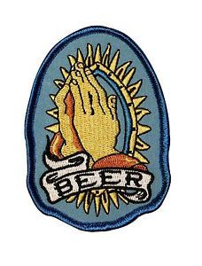 """Beer"" Prayer Hands Alcoholic Worship Novelty Embroidered Iron on Applique Patch 