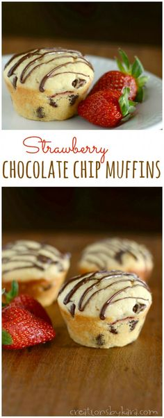 Strawberry Chocolate Chip Muffins- Everything you love about chocolate covered strawberries all wrapped up into a soft and fluffy muffin. A breakfast treat that is sure to bring a smile to any face!