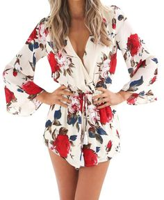 Heyouthoney women casual summer sexy elegant deep v-neck floral print shorts jumpsuit playsuits rompers combinaison femme Long Romper, Long Sleeve Romper, Playsuit Romper, Romper Pants, Dress Long, Rompers Women, Jumpsuits For Women, Women Shorts, Rompers For Teens