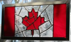 Canadian flag stained glass Glass Fusing Projects, Stained Glass Projects, Stained Glass Patterns, Fused Glass Art, Glass Wall Art, Mosaic Glass, Stained Glass Panels, Stained Glass Art, Glass Art Pictures