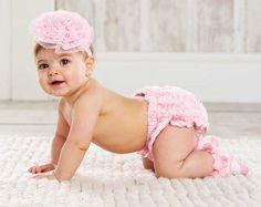 0-6 Mud Pie Baby Girl Rosette Bloomer - Pink Chiffon