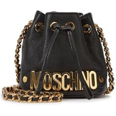 Womens Bucket Bags Moschino Mini Black Logo Leather Bucket Bag ($670) ❤ liked on Polyvore