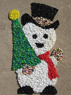 classic popcorn/melted plastic chip snowman