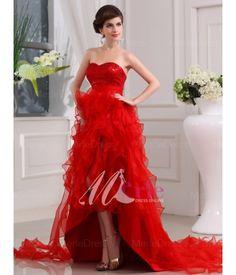 Sexy Sweetheart Sleeveless Organza Sequin Asymmetrical Prom Dresses