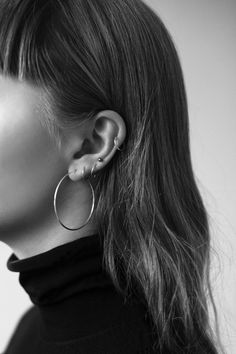 Hoop earrings and multiple ear piercings