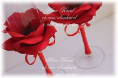 Red wedding glasses hand made with artificial rose. * I make thins glasses in any color (great if you send me an example of color)  * i can add./ change any design moments (add sparkle...)    if you have any questions, please, dont hesitate to ask me anything: alisanevesta [!at] yanex.ru    more of my works you can see on my web site : **** alisakarol.jimdo.com *****
