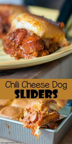 Chili Cheese Dog Sliders – homemade hot dog chili, chopped hot dogs and cheese piled high on slider buns and baked to crisp up the buns. Homemade Hot Dogs, Homemade Chili, Hot Dog Chili, Chili Dogs, Hot Dog Recipes, Beef Recipes, Donut Recipes, Party Recipes, Sandwich Recipes