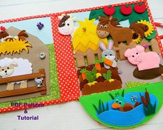 Farm Quiet Book,Quiet book PDF pattern for toddlers, Quiet book PDF templates made of felt, Quiet book page ideas Pattern PDF Farm Animals For Toddler, Toddler Books, Quiet Book Templates, Quiet Book Patterns, Diy Quiet Books, Felt Quiet Books, Fairy Quiet Book, Sensory Book, Baby Sewing Projects