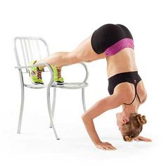 Handstand Push-Up on chair - placing feet on chair and from plank walk hands so they are under shoulders, piking butt into air. perform 10 push ups. walk hands back to plank and place feet onto floor.