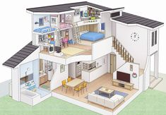 Bedroom Drawing, House Drawing, Sims 4 House Plans, Sims 4 House Design, Casas The Sims 4, House Illustration, Cute House, Home Room Design, Japanese House