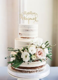 Gold name topped naked wedding cake: http://www.stylemepretty.com/texas-weddings/austin/2017/01/12/this-wedding-will-make-you-fall-ever-so-hard-for-green-garland/ Photography: Mint - http://mymintphotography.com/