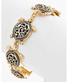 437635 Antique Gold Tone Metal / Lead&nickel Compliant / Filigree / Turtle / Magnetic Closure Bracelet