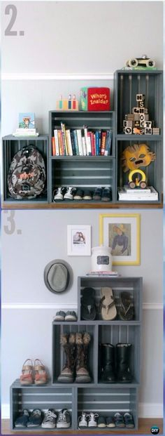 DIY Stacked Entryway Shelf 3 Ways Instructions Video- DIY Wood Crate Furniture Ideas Projects