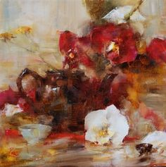 Teapot with Orchids by Laura Robb Oil ~ 11 x 11