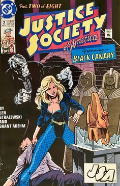 DC Comics Justice Society of America of 8 1991 Comic Book Heroines, Dc Comic Books, Comic Book Covers, Marvel Dc Comics, A Comics, Justice Society Of America, Classic Comics, Black Canary, Book Images