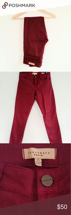 """Sanctuary Denim Jeans Beautiful skinny jeans in almost new condition. Only worn once but unfortunately too big for me. Unique maroon jeans with a red undertone. Style is the """"Lux Twill Charmer"""" in black cherry. Sanctuary Jeans Skinny"""