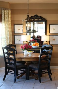 Breakfast room makeover in our last house, horizontal stripes, short curtains, lantern pendant, my parents' old pedestal table Like oak table and black chairs. Decor, Home Kitchens, Sweet Home, Furniture, Interior, Eclectic Dining Room, House, Home Decor, Dining