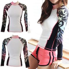 Women Rashguard Swim Shirt surfingwear Sun Clothes workout UV Protection ifnayo in Sporting Goods, Water Sports, Wetsuits Camisa Uv Feminina, Large Bust Swimsuit, Outfits For Teens, Summer Outfits, Rash Guard Swimwear, Rash Guard Women, Best Swimsuits, Elegantes Outfit, Surf Wear