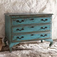 Turquoise Wood Chest