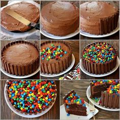 Cake with mm's and kitkat
