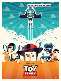 Toy Story x by Julien Rico Jr. Disney Toys, Disney Art, Disney Pixar, Toy Story 1995, Toy Story Movie, Best Movie Posters, Disney Posters, Vintage Movies, Vintage Posters