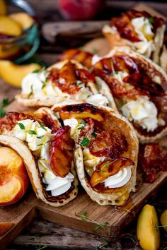 Looking for pancakes with a twist for Shrove Tuesday? How about my Pancake Tacos with Caramelized Peaches and Pancetta! Plus lashings of whipped cream. Breakfast Platter, Breakfast Tacos, Savory Breakfast, Sweet Breakfast, Breakfast Time, Brunch Dishes, Brunch Recipes, Gourmet Recipes, Breakfast Recipes