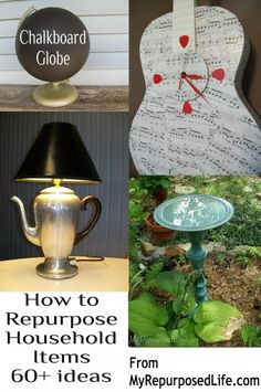 My Repurposed Life-How To Repurpose Everyday Items--how fun it would be to get a group to purchase junk at an early garage sale and redo them and then sell them all together at a Redone Sale to raise money for a special project. Give a reward for the one who makes the most money for their junk redo.