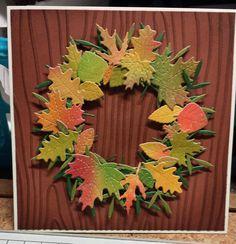 Autumnal wreath birthday card for a dear family friend
