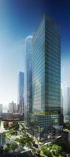 55 Hudson Yards, former 1 Hudson Boulevard, Hudson Yard Development, 11th Avenue-West 34rd Street, New York City designed by Kohn Pedersen Fox Associates (KPF) Architects :: 51 floors, height 238m :: proposed