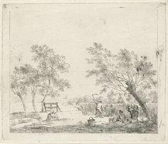 Johannes Janson | Landschap met korenoogst, Johannes Janson, 1783 | Landschap met boerin die koren bijeen bindt en een boer die koren oogst. Rechts op de voorgrond twee mannen, zittend en liggend onder een boom. Vóór de lucht en vóór de man links op de achtergrond. Negende prent uit een serie van dertien met maanden.