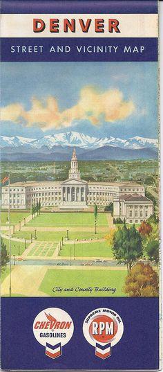1960 Denver Street Map, Chevron, Denver City & County Building Cover