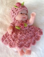 Crochet Toys Barbie Clothes Crochet Doll Clothes for Berenguer Itty Bitty Rose 2 pc Outfit - Crochet Barbie Clothes, Baby Doll Clothes, Doll Clothes Patterns, Crochet Dolls, Doll Patterns, Baby Dolls, Crochet Edging Patterns, Crochet Designs, Crochet For Kids