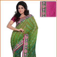 Shaded Green Pure Chinon Crepe Saree with Blouse