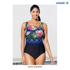 e100590c8c7 Swimsuitsforall Aquabelle Engineered One-Piece Swimsuit - Assorted Styles &  Extended Sizes at 53%