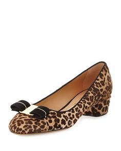 Vara Calf-Hair Bow Pump, Leopard by Salvatore Ferragamo at Neiman Marcus.