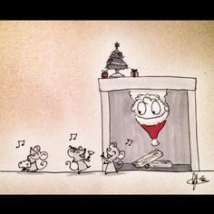 'Twas the night before Christmas and all through the house, not a creature was stirring not even a... #christmaseve #santa #partymice #dailydrawing #angelasongart