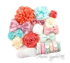 Korallen und Minze Stirnband Kit 12 von HairbowSuppliesEtc auf Etsy