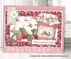 """Cute card making idea with berries and jam.  A Thank You card that is always """"Sweet""""! FQB - Sweet Preserves Collection by Nitwit Collections™ #cardmaking"""